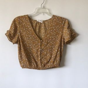 Tops - Mustard ditsy floral top